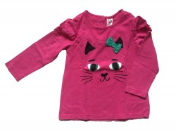 "Pull ""chat"" en coton bio • Taille 80 • ♀"