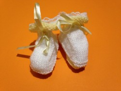 "Chaussons bébé ""White-Yellow"" • ♀♂"