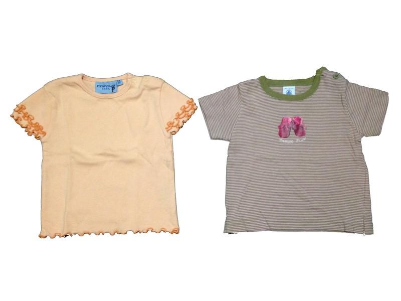 """2 T-shirt """"Chaussons d'amour+Orange"""""""